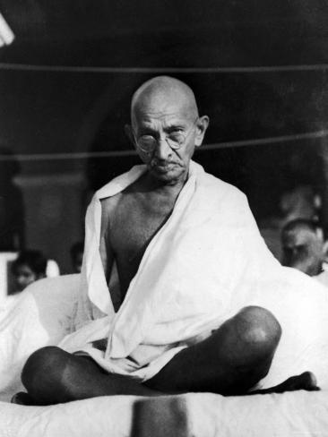 Indian Leader Mohandas Gandhi Sitting Cross Legged at Prayer Meeting Premium Photographic Print