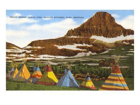 Indian Tepees, Glacier Park, Montana Art Print