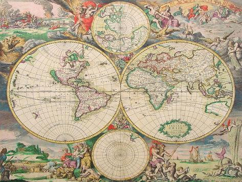 World Map Vintage Art Print
