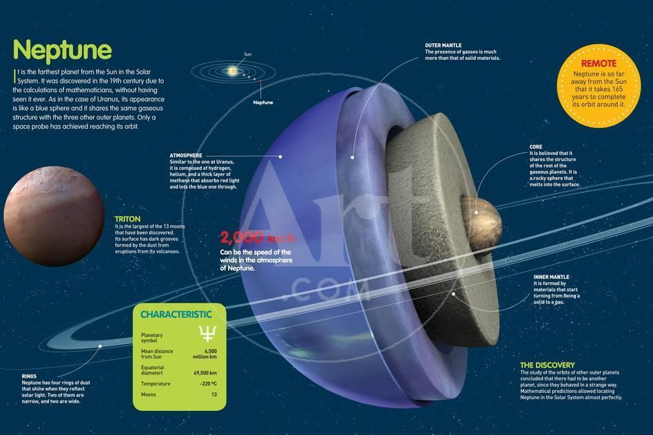 Infographic About Planet Neptune, its Characteristics, Composition, Orbit,  Rings and Moons