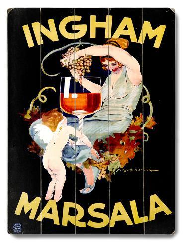 Ingham Marsala Wine Wood Sign