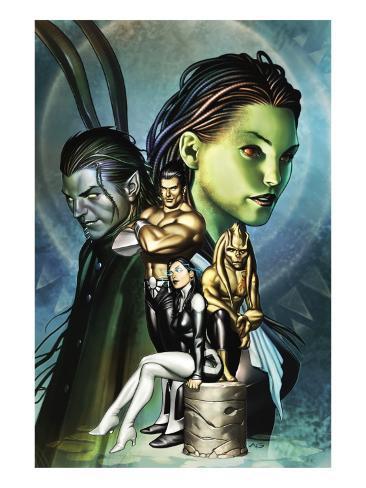 Inhumans No.12 Cover: Alaris, San, Tonaja, Nahrees and Inhumans Stretched Canvas Print