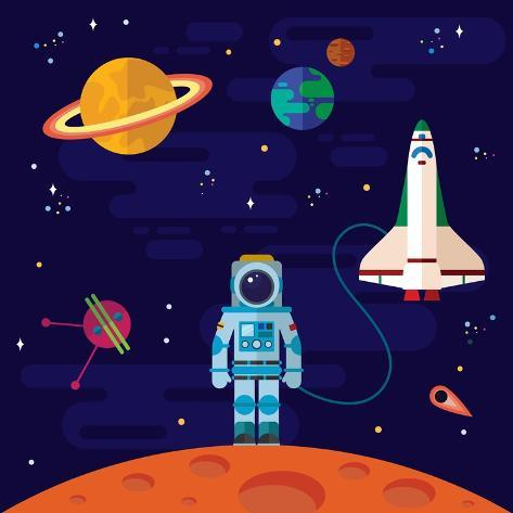 Vector Flat Space Elements with Spaceship and Planets. Stampa artistica