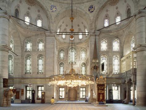 Interior of Eyup Sultan Mosque, 1458, Istanbul, Turkey Lámina fotográfica