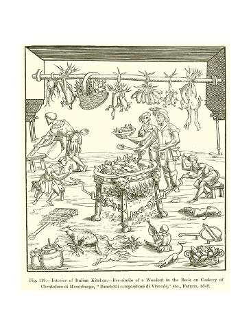 Interior of italian kitchen giclee print at for Italian kitchen prints