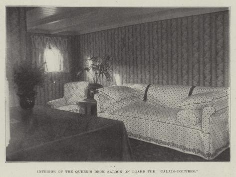 Interior of the Queen's Deck Saloon on Board the Calais-Douvres Stampa giclée