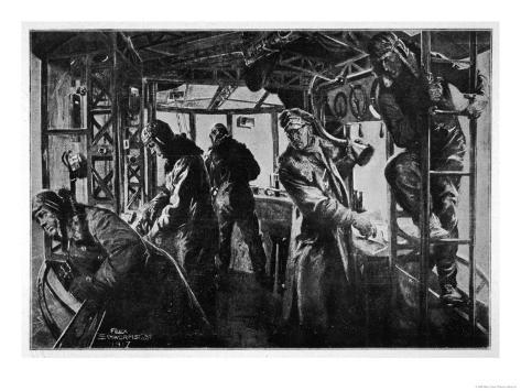 Interior View of a Zeppelin in the Course of a Bombing Raid on England Giclee Print