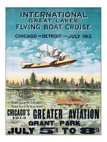 International Great Lakes Flying Boat Cruise, Chicago to Detroit, c.1913 Premium Giclee Print