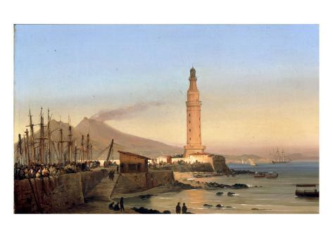 A View of the Lighthouse of Santa Lucia, Naples Giclee Print