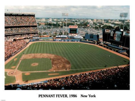 Ira Rosen New York Mets Pennant Fever Shea Stadium 1986 Sports Poster Print Mini Poster