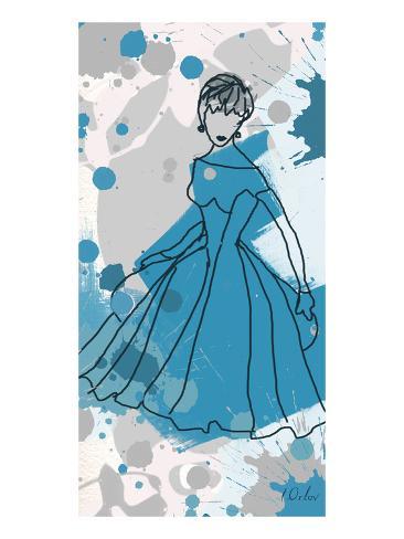 Women in Blue Dress Stampa artistica