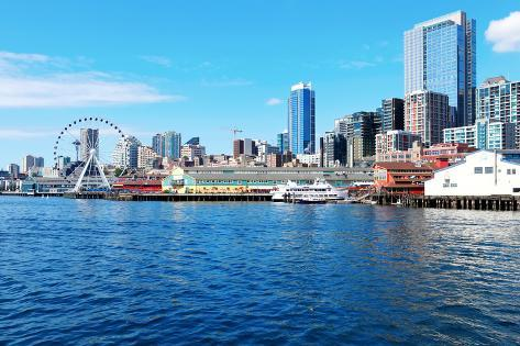 Downtown View from Ferry. Seattle, Wa Photographic Print