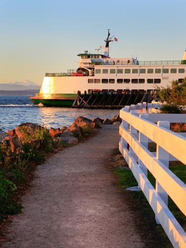 Mukilteo to Bainbridge Washington State Ferry during Sunset. Photographic Print