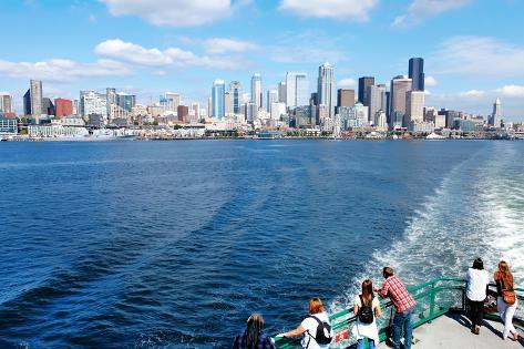 Seattle Waterfront Pier 55 and 54. Downtown View from Ferry. Photographic Print