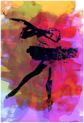 Black Ballerina Watercolor Poster