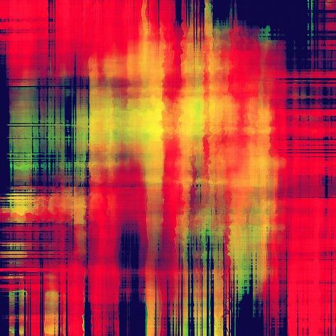 Art Abstract Geometric Pattern, Watercolor Blurred Stripes Background in Bright Coral Red, Gold, Bl Art Print