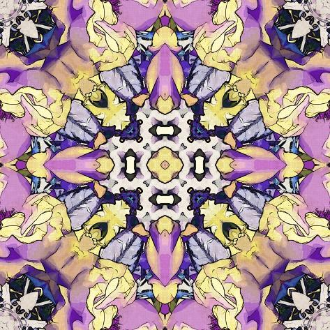 Art nouveau geometric ornamental vintage pattern in lilac violet black white and yellow colors