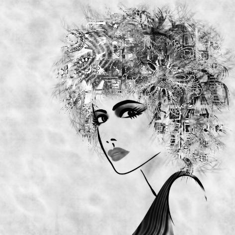 Art Sketched Beautiful Girl Face With Curly Hair And In Profile In