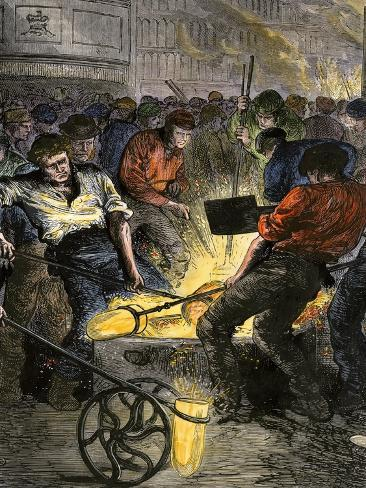 Iron Industry Workers Manufacturing Steel in England, c.1800 Giclee Print
