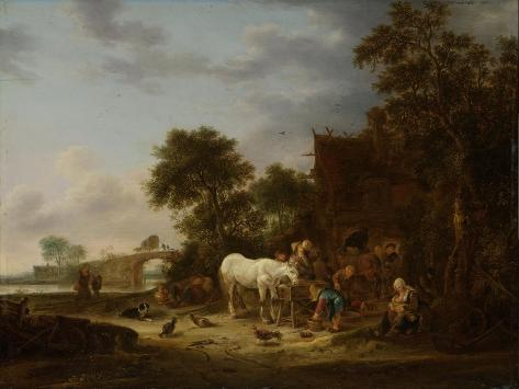 Country Inn with a Horse at the Trough Art Print