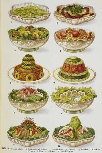 Assorted Salad Dishes Giclée-vedos