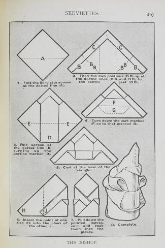 Instructions For Folding a Serviette Into the 'Bishop' Shape Giclée-vedos