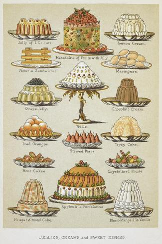 Jellies, Creams and Sweet Dishes Giclée-vedos