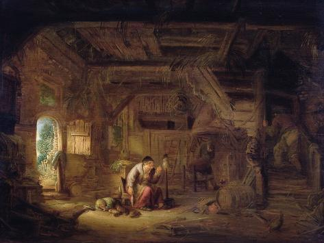 Interior of a Barn with an Old Woman at a Distaff Giclee Print