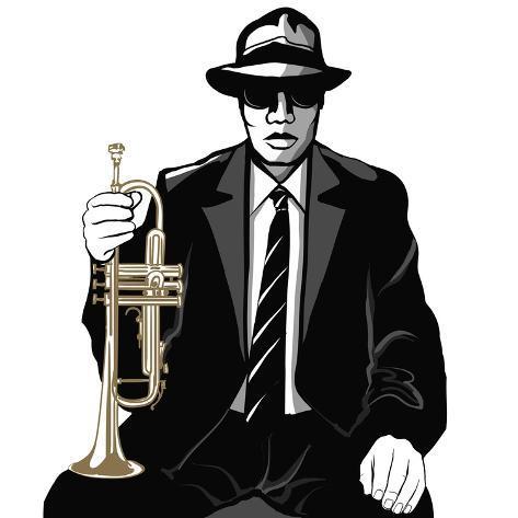 Jazz Trumpet Player - Vector Illustration Art Print