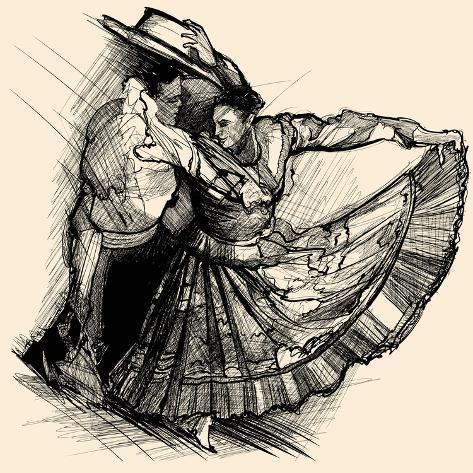 Vector Illustration of a Latino Dance Drawing Art Print