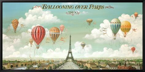 Ballooning Over Paris Framed Canvas Print