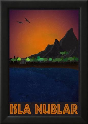 Isla Nublar Retro Travel Poster Póster enmarcado con plástico protector
