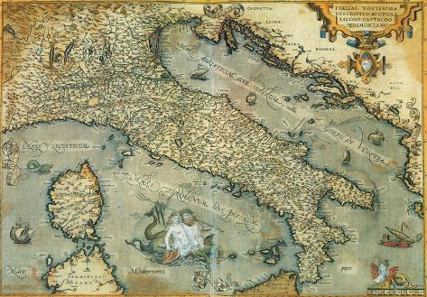 Italia Italy Vintage Style Italian Map Poster Poster At - Vintage europe map poster