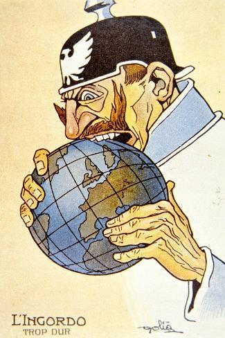 Italian Cartoon Depicting the German Kaiser as 'The Glutton' Trying to Eat the World Stampa giclée