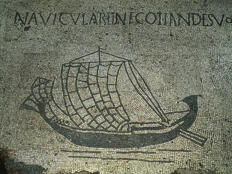 Italy, Latium Region, Ostia, Rome Province, Forum of Corporations, Phoenician Style Sailing Ship Giclee Print