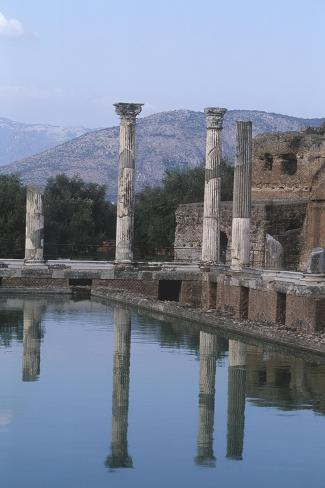 Italy, Latium Region, Rome Province, Tivoli, Hadrian's Villa, Building and Fishpond Giclee Print