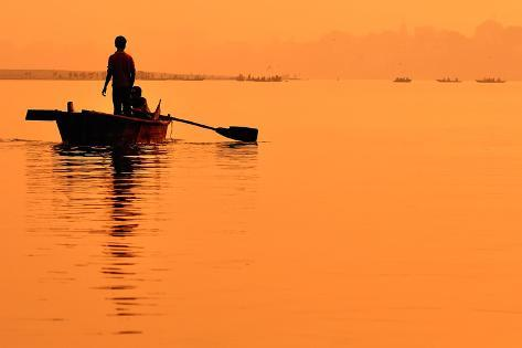 Two Boys in a Boat on the Ganges Photographic Print