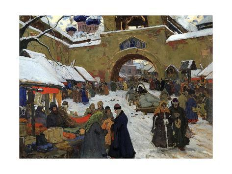 Market Day in an Old Russian Town, 1910S Giclee Print