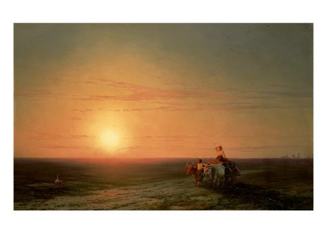Peasants Returning from the Fields at Sunset Giclee Print