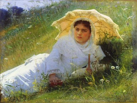A Hot Day (On the Grass. Midda), 1883 Giclee Print
