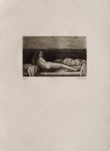 Femme nue couchée Lámina coleccionable