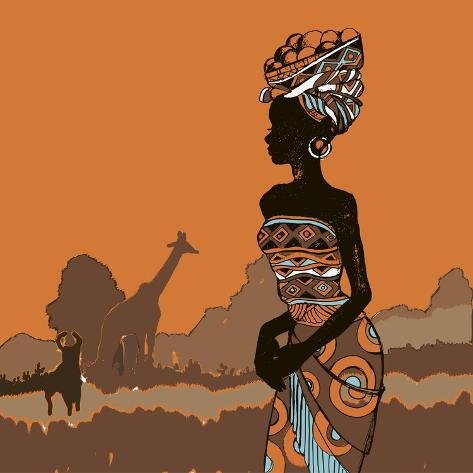 Hand Drawn Illustration Beautiful Black Woman.African Woman Art Print