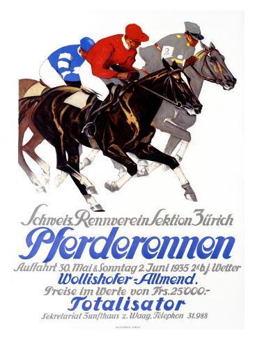 Pferderennen, Wollishofer-Allmend Giclee Print