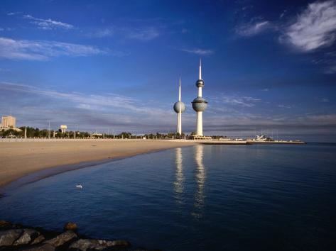 Kuwait City Water Towers on Seafront, Kuwait, Kuwait Photographic Print