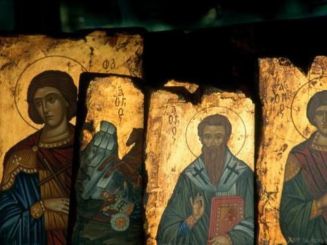 Religious Icons for Sale in Shop, Ermou, Athens, Greece Photographic Print