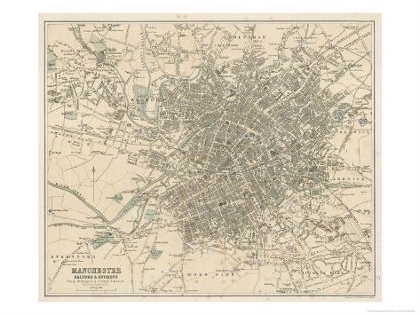 Map of Manchester and Its Environs Giclee Print