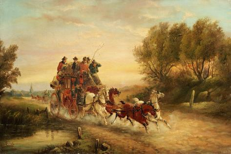 The Oxford to London Mail Coach, 1883 Giclee Print