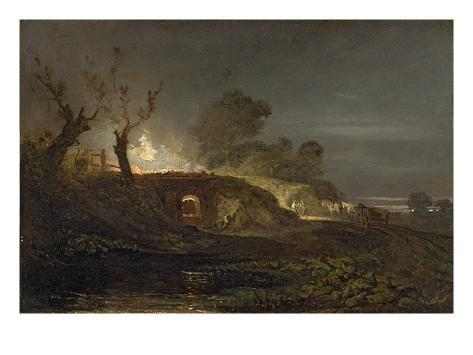 A Lime Kiln at Coalbrookdale, C.1797 (Oil on Panel) Giclee Print