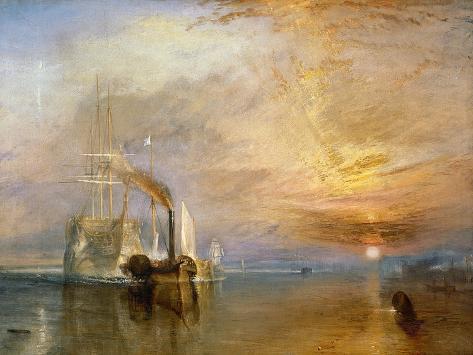 Fighting Temeraire hinataan viimeiselle laituripaikalle ennen hajottamista, ennen 1839 Giclée-vedos