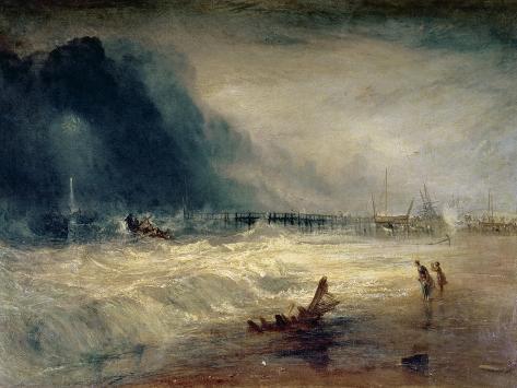 Livbåt och manbymörsare tar sig mot en strandad båt i sjönöd, ca 1831 Gicléetryck